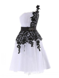 Winnie Bride Short Bridesmaid Wedding Dress Lace Chiffon Prom Homecoming Dress-22W-White