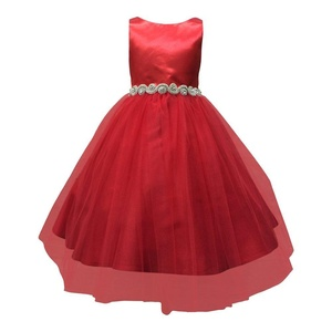 Petite Adele Little Girls Red Dull Satin Rhinestone Tulle Christmas Dress 2T-6