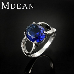 Slyq Jewelry Ring Platinum plated Wedding jewelry engagement vintage Blue bague accessories