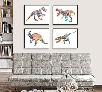 Dinosaur Art Print - Kids Wall Decor - Children Art - Set of 4 prints - 255/260/261/262