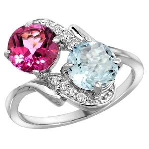 10K White Gold Diamond Natural Pink Topaz & Aquamarine Mother's Ring Round 7mm, size 6.5
