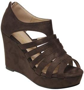 DbDk Alecia-1 Women's peep toe platform wedge zip closure suede sandals Brown 9
