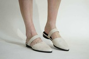 flat mules, leather flats, women shoes, off-white shoes, spring shoes, closed toe mules, leather mules, shoes on sale, pointy toe on sale