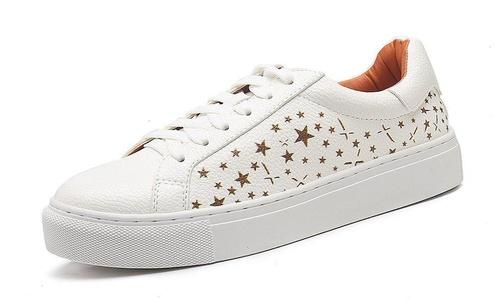 Easemax Women's Trendy Star Round Toe Lace Up Low Top Low Heel Platform Sneakers