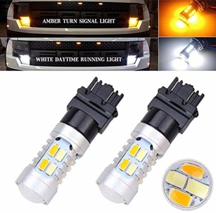 XT AUTO 3157 3155 3457 4157 Dual-Color 20-SMD-5730 White Amber Yellow LED Switchback Turn Signal light Lamps Bulbs 2-pack