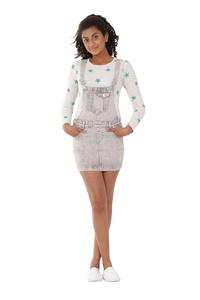 Grey Wash Denim Dungaree Dress 8-16 Years Girl & Teen Bib overall skirt
