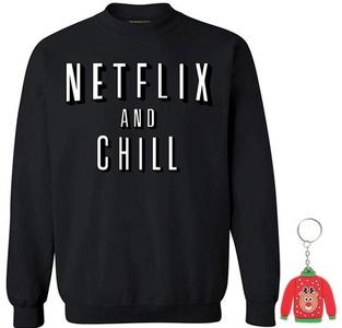Awkwardstyles Netflix and Chill Crewneck Xmas Sweatshirt +Ugly Sweater Key Chain L Black