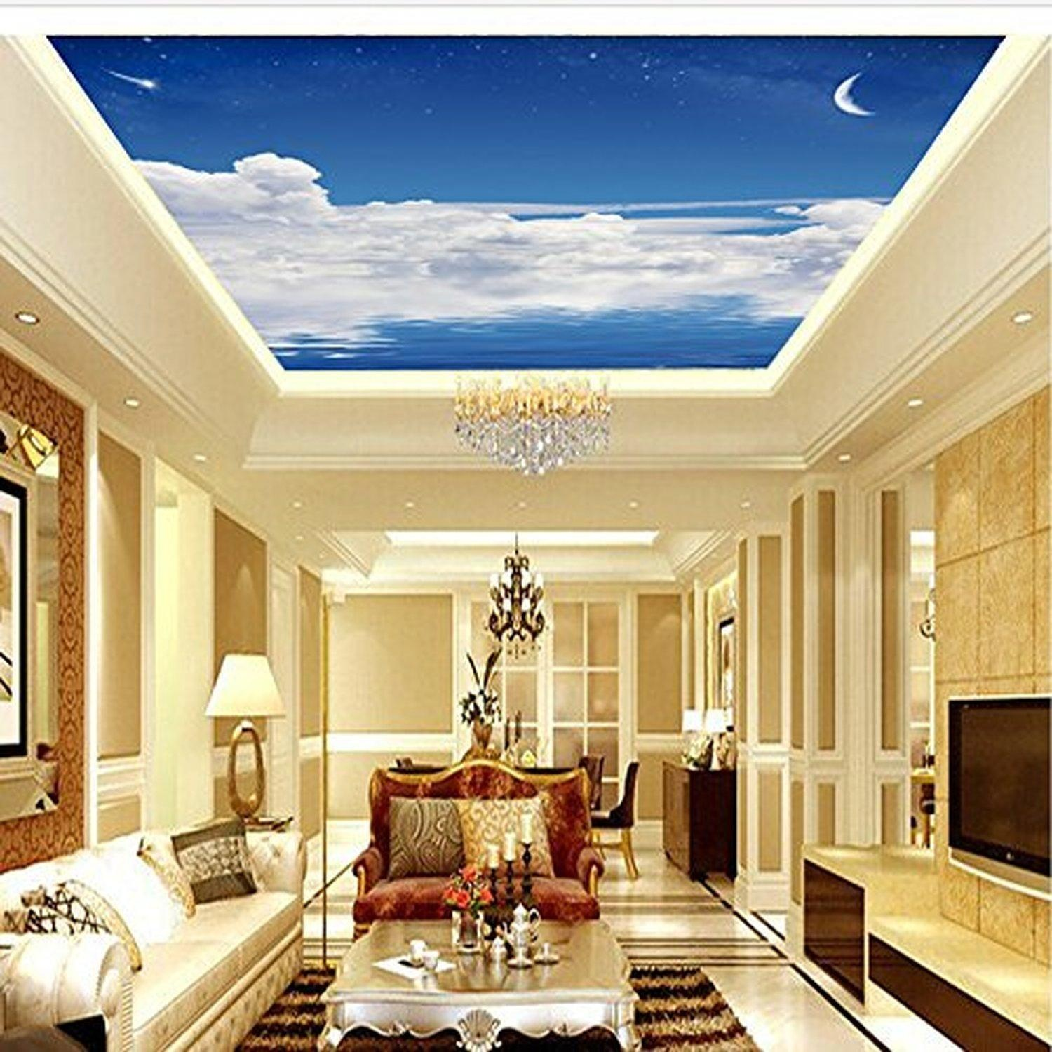 FEI&S Seamless roof 3D wallpaper blue sky ceiling murals wallpaper large nonwoven wall covering custom, point extension
