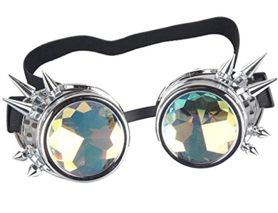 3-5 Days Delivery Kaleidoscope Rave Goggles - Rainbow Crystal Lenses Silver Steampunk Glasses Chrome Finish Gotchic Welder Cyber Style - Real Glass Lens