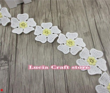 1y/lot 5.3cm Multi colors options Flower Pattern Embroidery Lace DIY Sewing Accessories (Yellow)