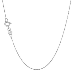 Solid 14K White Gold Thin Box Chain Necklace 0.6mm 16