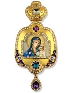 Madonna and Child Christ Icon Pendant With Crown Chain Religious Wall Decoration 6 Inch