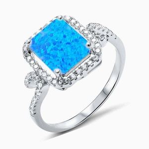 Radiant Cut Lab Created Blue Opal Clear Cubic Zirconia Wedding Engagement Silver Ring Size 9