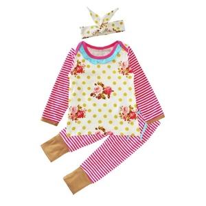 JUNNEY_ Newborn Baby Girls Outfit Print T-shirt+Pants Leggings+Hairband Set (90)