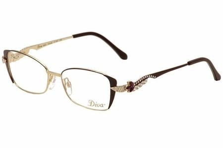 Diva Eyeglasses 5433 123 Wine/Gold/Violet/Crystal Full Rim Optical Frame 51mm