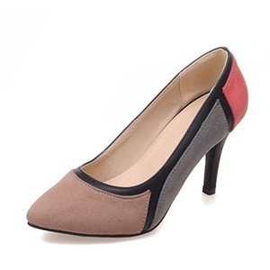 VASHOP Women's Suede High Heel Two Tone Pointed Toe Pump Shoes Office Ladies Court Shoes,Pink/5