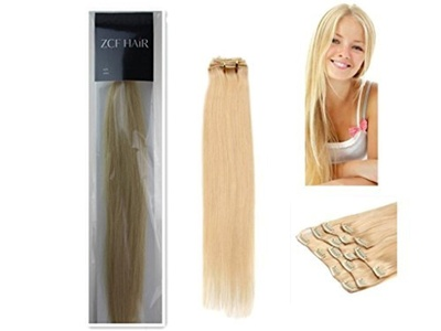 20'' 100% Real Human Hair 7Pcs Clip In Human Hair Extensions Straight Hair Color 613 Light Blonde 70g Beauty Design Salon by ZCF HAIR
