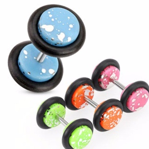 Silver Splatter Over Colorful All Acrylic Fake WildKlass Plug with O-Rings (Sold as a Pair)