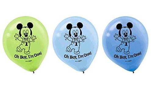 15-Piece Mickey's 1st Birthday Balloons, assorted colors. by Napkins