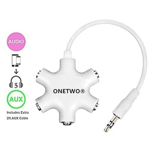 OneTwo Multi Headphone Splitter,3.5mm Headset Earphone Audio Adapter Converter Connector 1 Male to 2 3 4 5 Female Cable
