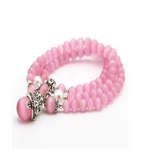 Leobeads Pink Cat's Eye Opal Natural Stone Multilayer Beaded Bracelet with Cat Charm Pendant