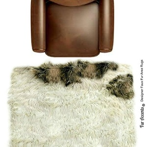 Super Soft Mongolian Shag Style Area Rug - TABBY - Plush Narutal White Faux Fur with Tabby Gray and Brown Accents - Rectangle - Designer Carpets by Fur Accents USA
