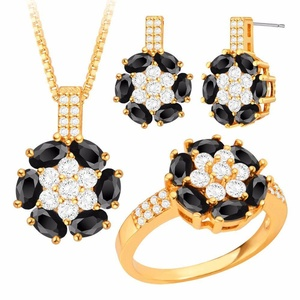 Flower Fashion Jewelry Set 18K Gold Plated Crystal Necklace & Earring Ring Party Gift S20188