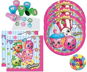 Shopkins Dessert Plates and Napkins for 16, Cupcake Stampers (18) and a Happy Birthday Sticker (Bundle of 4 Items), Total 51 pieces by Multiple