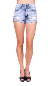 Machine Jeans Women Distressed Shorts Jeans with 3 Front Button L Light Denim