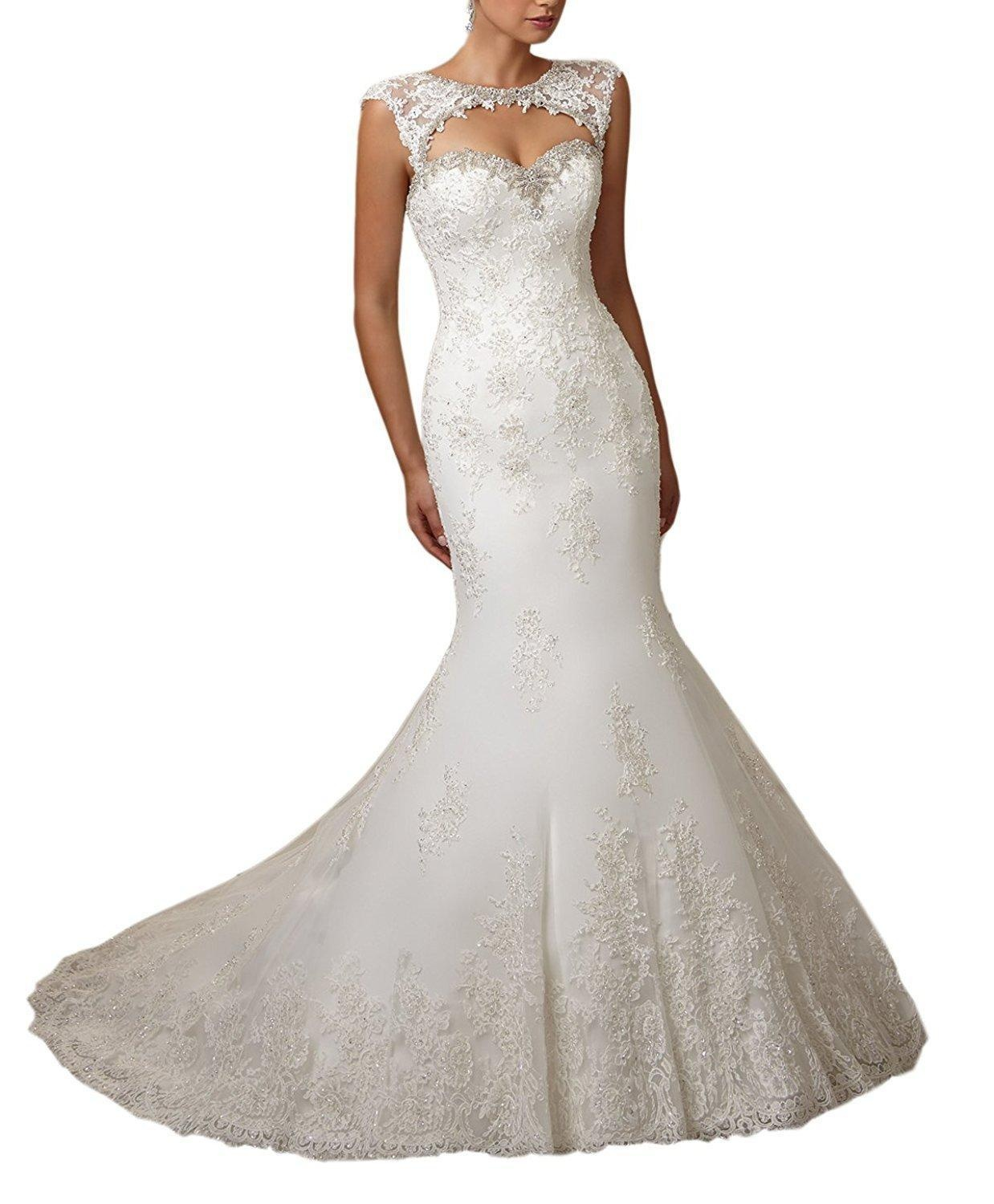 Meledy Women's Jewel Neck Beads Bridal Gown Lace Appliques Court Trains Open Back Long Mermaid Church Wedding Dress White US04
