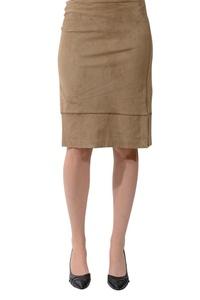 Lysse Women's Faux Suede Skirt in Latte