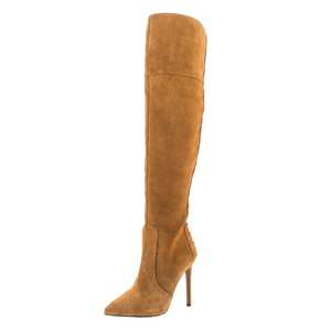 MERUMOTE Women's Messmery Pointed Toe Knee High Boots Side Zipper Closure Camel 14 US