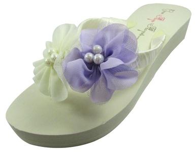 Ivory Wedge Flip Flops Wedding Bridal White Wedge Bride Platform Heel Pearl Flower Shoes Sandals Beach (9 M US, Ivory 1.25 inch heel)