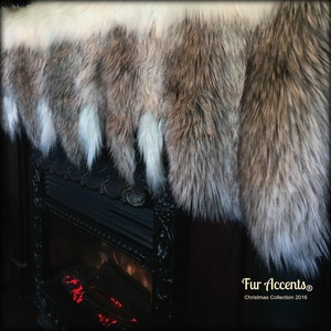 Fireplace Mantle Valance - Garland - Scarf - Christmas Decoration - White Faux Fur with Gray Wolf and Fox Tail Trim - Wonderland Creations by Fur Accents (4'x2')