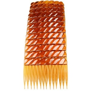 Hair Combs Plastic Hair Slides 12 Pack Of Budget Black Brown Or Clear 7Cm Combs Brown by Cherry-on-Top