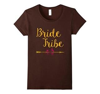 Women's Women Bride Tribe Bachelorette Party Wedding Tee Shirt XL Brown