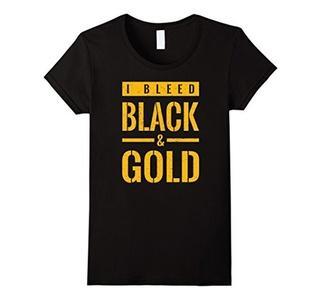 Women's Retro Vintage I Bleed Black and Gold Shirt Amazon Scrum Medium Black