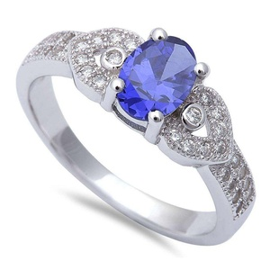 Solitaire Accent Wedding Engagement Ring Oval Cut Simulated Tanzanite Round CZ 925 Sterling Silver