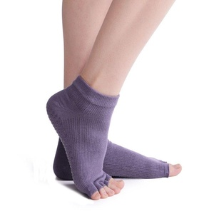 DUOME Non Slip Skid Combed Cotton Toeless Yoga Pilates Socks With Grips For Women