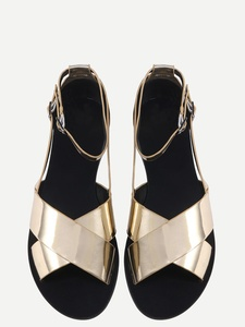 Metallic Crisscross Flat Sandals