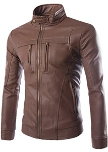 Season Show Men's Vintage Stand Collar Faux-Leather Jacket Brown L
