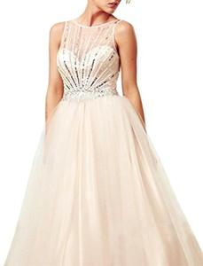 Ever-youth Women's Beaded Scoop Sleeveless V-back Zipper Long Tulle Prom Dress Light Champagne US14