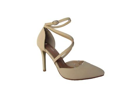Moda Bat-23 Womens Pointy Toe Pump High Heels Strappy Fashion Ankle Strap Stilettos Beige 9