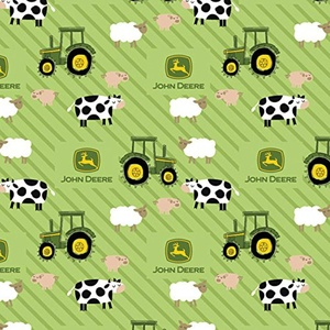 FLANNEL John Deere Tractor Farm Animals On Stripes Fabric From Springs Creative By the Yard