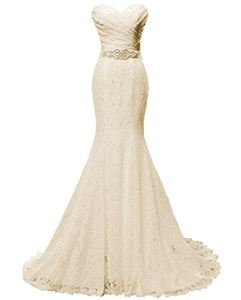 Women's Beaded Pleat Lace Wedding Dress Mermaid Bridal Gown with Sash Champagne