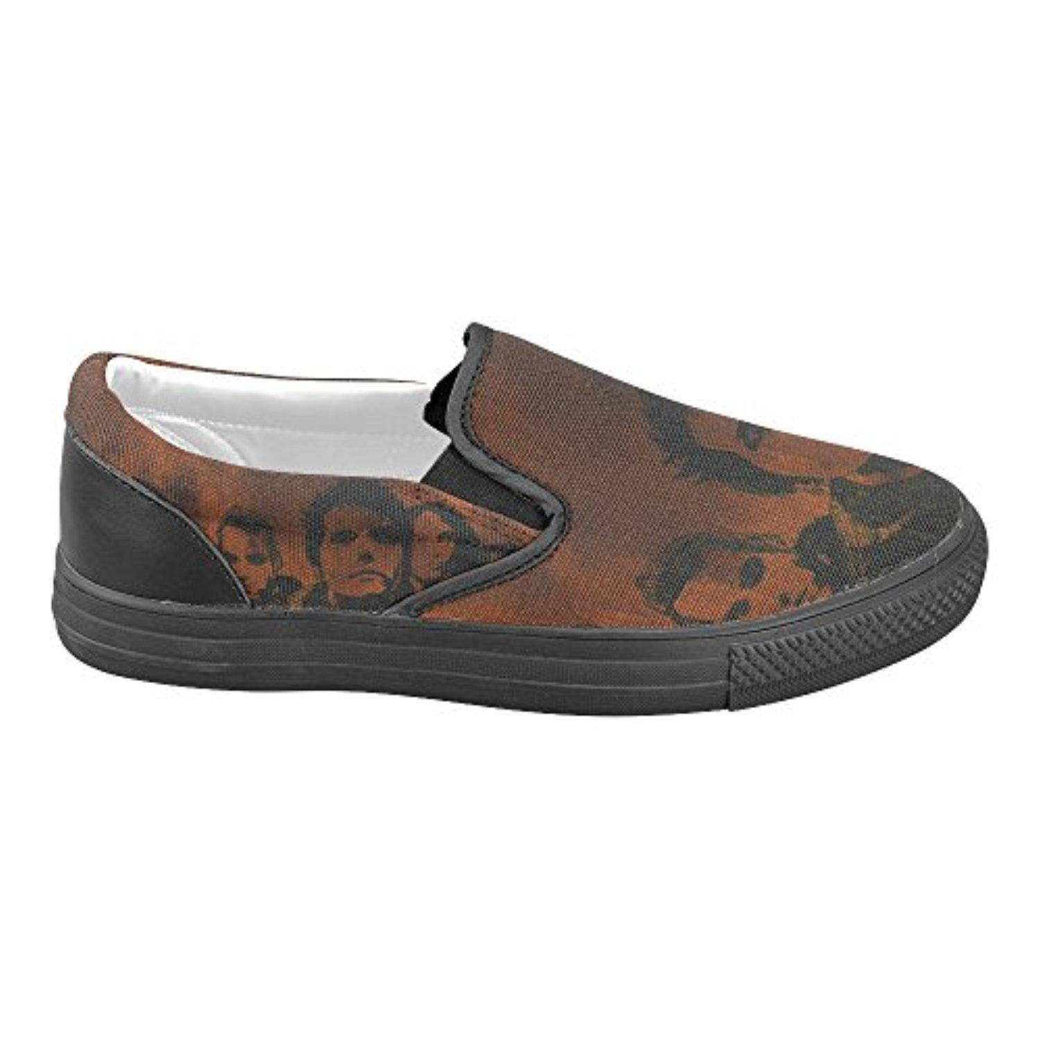 H-MOE Art My Chemical Romance Men's Slip-on Canvas Shoes Casual Flats Breathable Sneakers,Black