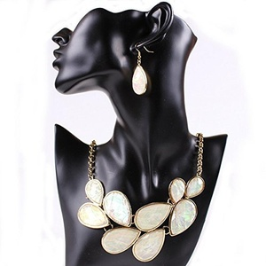 ARICO Jewelry Set Natural Stone Statement Necklace Set Water Drop Turquoise Jewelry Sets Fine Jewelry NB559