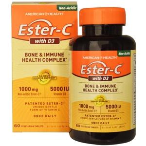 American Health, Ester-C with D3, Bone and Immune Health Complex, 1000 mg/5000 IU, 60 Veggie Tabs - 2pc