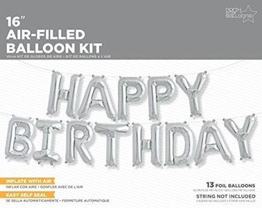 13 Piece Silver HAPPY BIRTHDAY Celebration Party Foil Letter Balloon Kit by Northstar Balloons