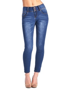 BLUE AGE Women's Multistyle Mid-Rise Skinny Denim Jeans (5, MEDIUM BLUE)